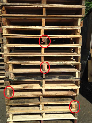 grade b pallets with repaired stringers showing